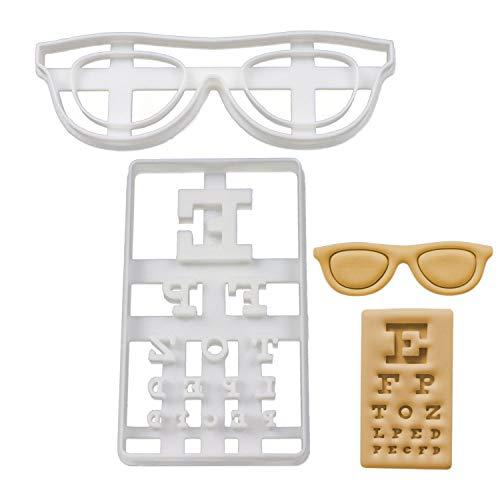 Bakerlogy 2er Set Augenheilkunde Ausstechformen (Formen: Sehprobentafel und Brille), 2 Teile