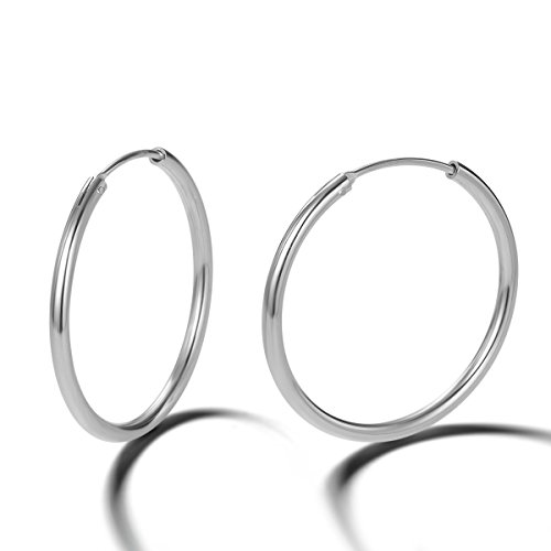 Pendientes De Aro para Mujer Plata de ley 925 círculo Aretes Pendientes Hoops - Diámetro: 30 mm