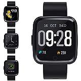 Smartwatch Wasserdicht IP67 Bluetooth Smartwatch Pulsuhr Fitness Tracker Sportuhr mit Kamera Romte Schlafmonitor Kalorienzähler erfassen SMS Whatsapp Note Kompatibel für IOS Android