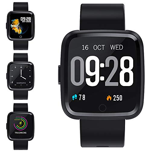 Zagzog Smartwatch Wasserdicht IP67 Bluetooth Smartwatch Pulsuhr Fitness Tracker Sportuhr mit Kamera Romte Schlafmonitor Kalorienzähler erfassen SMS Whatsapp Note Kompatibel für IOS Android