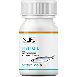 INLIFE Fish Oil Omega 3 Fatty Acids Supplements EPA DHA for Men Women 500mg - 60 Capsules
