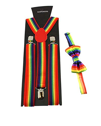 Blogger Fashion Kostüm - Zac's Alter Ego® Men's Matching Suspenders & Pre-Tied Bow Tie Combo Sets (Rainbow)