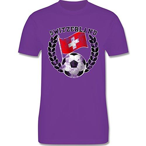 EM 2016 - Frankreich - Switzerland Flagge & Fußball Vintage - Herren Premium T-Shirt Lila