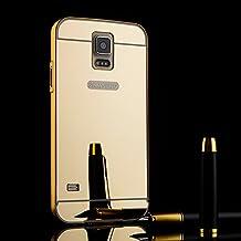TOCASO- Lujo Funda con Espejo por Samsung Galaxy S5 Funda con Espejo por Samsung Galaxy S5 Estructura de Metal Mirror Look Case Multifunción Case Carcasa de Móvil con Marco de Aluminio Bumper Hardcase Cover Anti-arañazos + 1 X Negro Stylus Pen+ Clean Cloth (Oro Tirano)