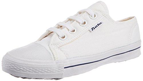 Bata Boys Super Match White Canvas Uniform Shoes - 4 kids UK/India (22 EU) (4391345)