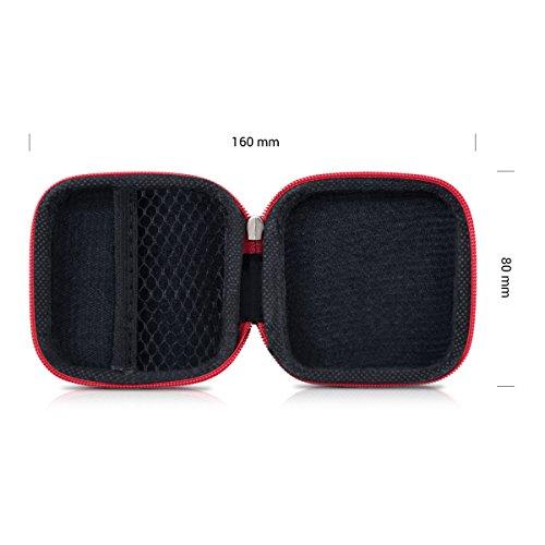 kwmobile In-Ear Kopfhörer Tasche - In Ear Headphones Schutztasche - Earphones Etui Case Cover Hülle für Kopfhörer in Rot - 2