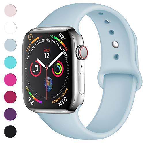 Lerobo Sport Correa para Apple Watch Correa 38mm 42mm 40mm 44mm, Pulsera de Repuesto de Silicona Suave Correa para Apple Watch Series 4, Series 3, Series 2, Series 1, 42mm/44mm S/M BLU Menta