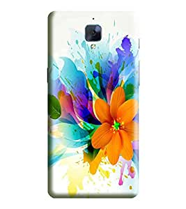 Hi-Me Designer Phone Back Case Cover OnePlus3t :: One Plus Three T :: One Plus 3T ( Orange Techno Flashy Flower Pattern )