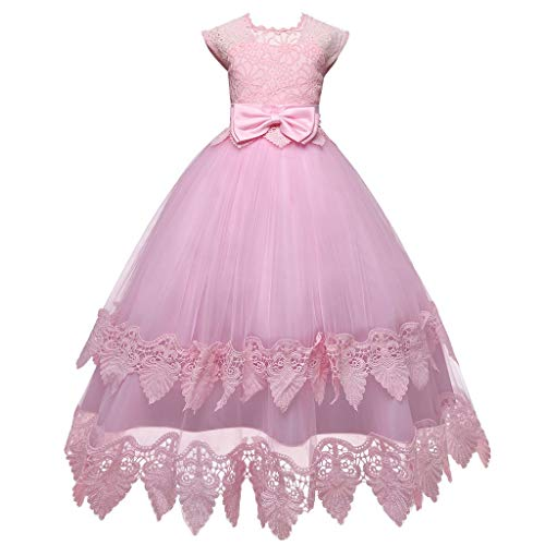 Livoral Mädchen Hochzeitskleid Partykleid Kinder Kinder Mädchen Bogen Prinzessin Formale Hochzeit Ärmelloses Tutu Kleid(Rosa,160) (Red Tutu M&m Teen Kostüm)