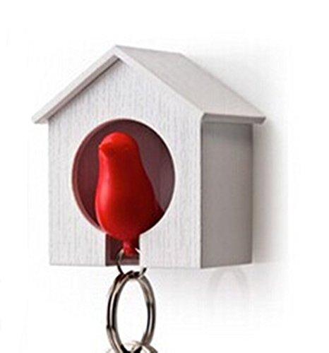 ANKKO Bella Passero Uccello Portachiavi fischio uccello-casa Portachiavi da parete (Rosso)