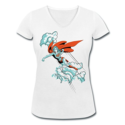 DC Comics Originals Supergirl Vole Rétro T-shirt col V Femme de Spreadshirt® Blanc
