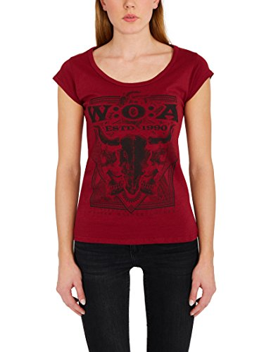 W:O:A - Wacken Open Air Damen Top mit Schädel Motiv Frontprint - Rundhalsausschnitt, Rückenausschnitt mit Schlitzen, Baumwolle, Rot, M (T-shirt Roten Festival)