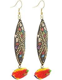 Zephyrr Jewellery Tibetan Dangle & Drop Hook Earrings with Pompoms