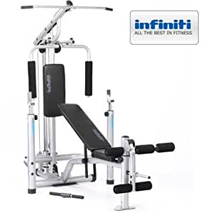 Infiniti Power Pro Weight Bench & Squat Rack Gym With Lat Pulldown, Pec Dec & Low Pulley System