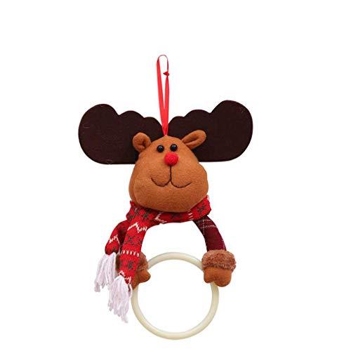 Bomcomi Weihnachten Tuch-Aufhänger Ring hängend Serviette Schal Weihnachtsschneemann Sankt-Ren-Küchenregal Badezimmer Dekoration Organizer (Hängende Schal-organizer)