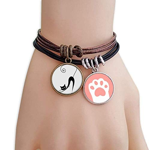 warz Katze Stretch Halloween-Tier-Kunst-Silhouette Katzen-Armband-Leder-Seil-Armband Paar Sets ()
