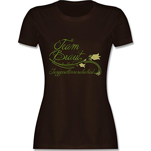 JGA Junggesellinnenabschied - Team Braut verspielt Blumenranken - tailliertes Premium T-Shirt mit Rundhalsausschnitt für Damen Braun