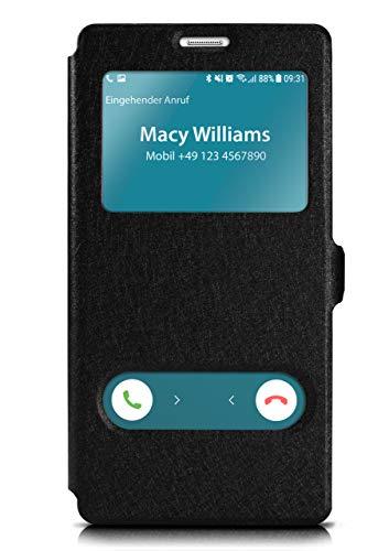 moex Samsung Galaxy Note 4 | Hülle mit Sicht-Fenster Schwarz Comfort Cover Stand-Funktion Schutzhülle Ultra-Slim Handyhülle für Samsung Galaxy Note 4 Case Flip Handy-Tasche