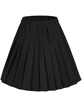 [Patrocinado]Urban GoCo Mujeres Falda Tenis Plisada Cintura Elástica Uniforme Escolar Mini Faldas