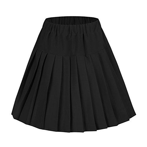Damen Schulmädchen-Stil Skater Röcke Faltenrock Schuluniform (M, schwarz)