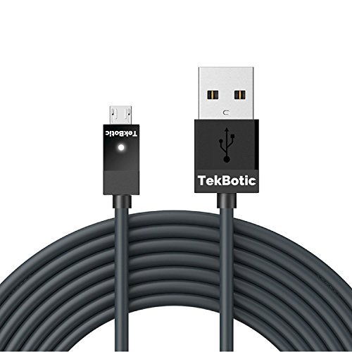 TekBotic TEK Play and Charge Micro-USB Controller Charging Cable 9ft V2.0 (Suitable as a PS4 Controller Cable Cord and Xbox One Controller Cable Cord). Heavy Duty Xbox One and PS4 Controller Cable LED by TekBotic -