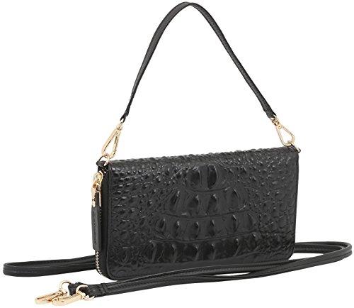 StilGut Smart Wallet aus Leder - Elegante Clutch, Geldbörse, Smartphonecase und Umhängetasche, Croc Style -