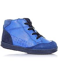 BIKKEMBERGS - Zapatilla azul marino con cordones, en cuero y gamuza, cremallera lateral, costuras visibles y suela en caucho, Niño, Niños