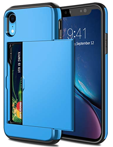 SAMONPOW Fall für iPhone Xr Hybrid iPhone Xr-Mappen-Kasten-Karten-Slot-Halter Heavy Duty-Schutz Anti-Scratch-Dual Layer Harter PC-weicher Gummistoßabdeckungs Himmelblau Heavy-duty-iphone Fall