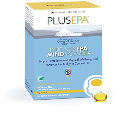 PlusEPA Omega 3 Fish Oil, Fatty Acids, EPA Mind Formula, Wellbeing - 60 Softgels