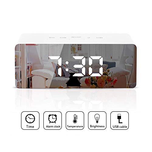 Reloj despertador LED digital Reloj despertador espejo Pantalla con función de temperatura de tiempo...