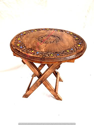 Acme Production Coffee Table Patio Garden And Outdoor Furniture Round Top Folding Table - Brown  available at amazon for Rs.1850