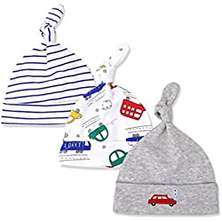 Casa Unisex 3 Beanie Gorra para Bebés , Recién Nacido Caps Baby Niños Gorra de Sueño Algodón Sombrero de Bebés