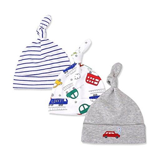 CuteOn 3 Pack Baby Beanie Knoten Hut Neugeboren Jungen Mädchen Baumwolle Einstellbar Kappe zum Baby 0-6 Monate 08-Busse