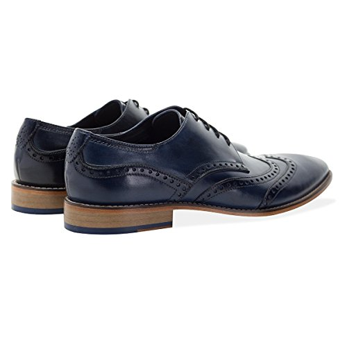 GOODWIN SMITH Hommes Gisburn Cuir Brogue Chaussure La Marine Navy