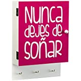Versa 20930068 - Caja de llaves Nunca dejes de soñar, 18 x 6.5 x 25.5 cm, color rosa