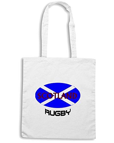 T-Shirtshock - Borsa Shopping TRUG0073 scotland rugby tshirt logo Bianco
