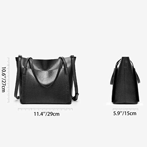 Vbiger Donna Borsa a tracolla alla moda Borsa Tote in pelle sintetica(Nero) Nero
