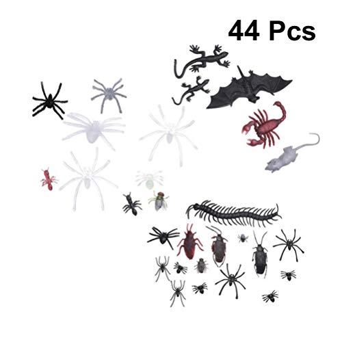 Amosfun 44 stücke Halloween Kunststoff Insekten Figur gemischt künstliche spinne Fledermaus Skorpion lebensechte streich Gag Spielzeug Geschenk für Halloween gastgeschenke zufällig (Buch Figur Kostüm Zu Hause Zu Machen)