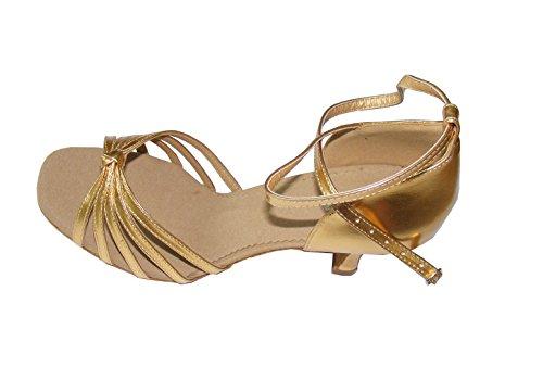 Chaussures de danse latine pour dame en PU avec cinq lani¨¨res nou¨¦es Or