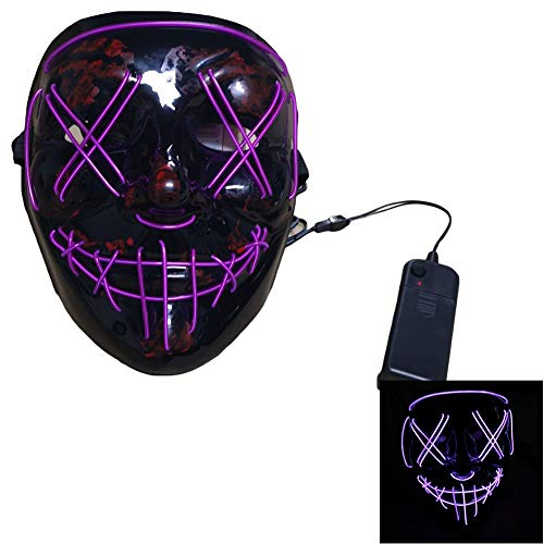 Halloween Maske, LED beleuchtete Maske Halloween Horror Maske, LED Kostüm Maske EL Line Horror Maske Halloween, Cosplay Festival Party Tanz Maske Holiday Party Glow - Beste Wahl (Tanz Kostüm Trends)