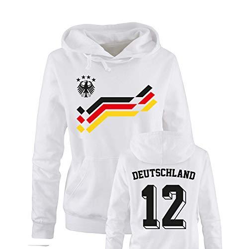 Comedy Shirts EM 2016 - Retro-Trikot - Deutschland - 12 - Damen Hoodie - Weiss/Schwarz-Rot-Gelb Gr. L