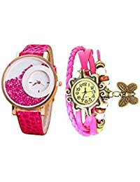Talgo New 2017 Special Collection Multi Color Round Dial Pink Leather Strap Women's Watch (Combo Of 2 Watches)