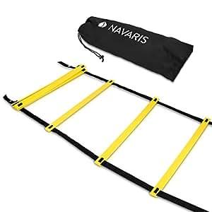 Navaris Koordinationsleiter 6m Workout Agility Leiter - Basketball Fussball Speed Ladder - Trainingsleiter Geschwindigkeit Training - mit Tasche