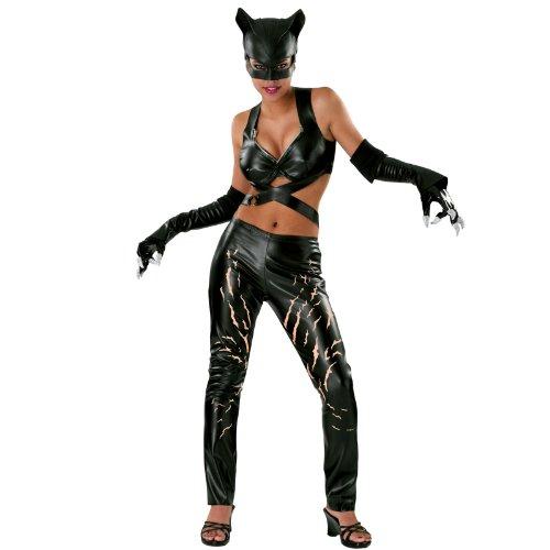 Catwoman Comic Deluxe Kostüm Damen 4 teilig Leggings Top Maske Handschuhe - M