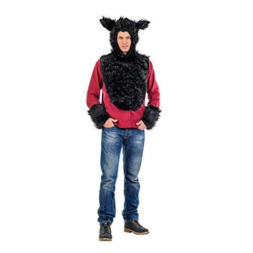 Böser Wolf Tier Kostüm Sweatshirt Herren für Karneval und Mottoparty schwarz rot - (Mann Kostüm Wolf)
