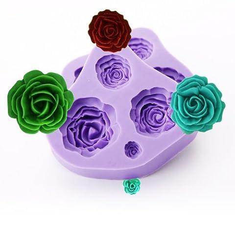 Lot de 2 moules en silicone pour décoration de gâteaux de mariage en forme de rose 4 tailles