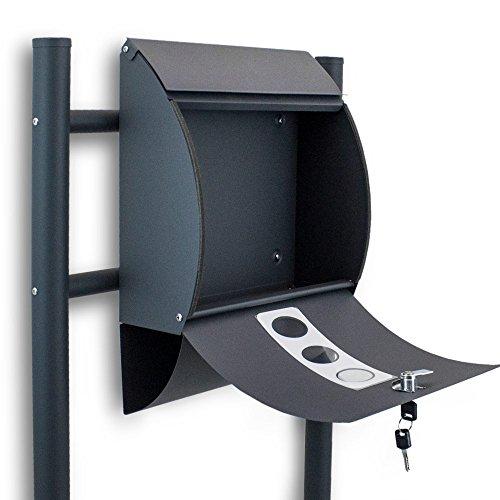 BITUXX® Freistehender Standbriefkasten Briefkastenanlage Briefkasten mit Zeitungsrolle Halbrund Dunkelgrau Anthrazit - 3