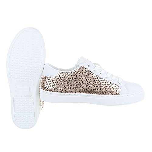 Low Ital Freizeitschuhe Sneaker Sneakers Fc top Schnürsenkel Bronze design s25 Damenschuhe rqpnrxwB