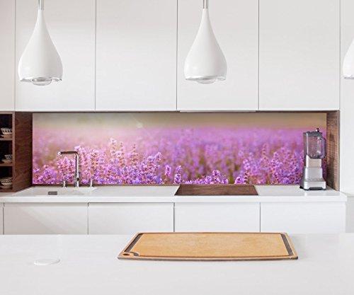 Aufkleber Küchenrückwand Lavendel Feld Sommer Sonnenuntergang Folie selbstklebend Dekofolie Fliesen Möbelfolie Spritzschutz 22A705, Höhe x Länge:60cm x 150cm (Große Aufkleber Lavendel)