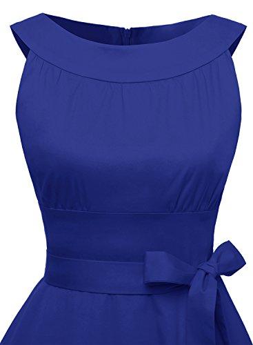 Timormode Sommerkleider 50er Retro Damen Rockabilly Kurz Vintage Kleid Ärmellos Swing Kleid Ballkleid Royalblau